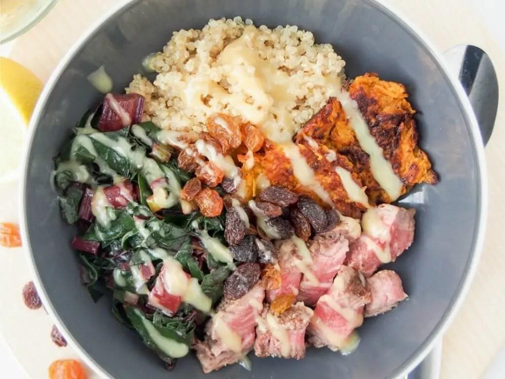 leftover steak and quinoa bowl