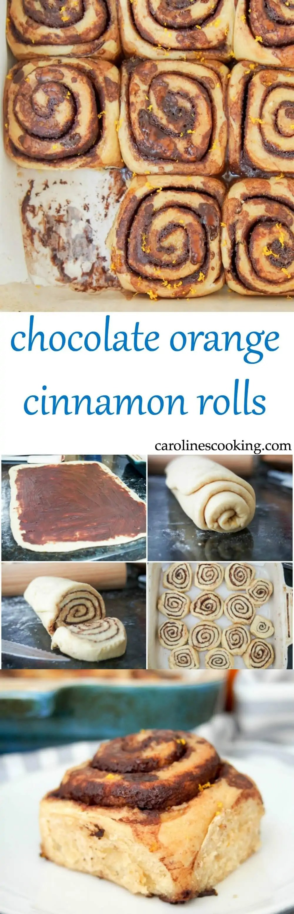 chocolate orange cinnamon rolls - Chocolate and orange are a perfect match and these chocolate orange cinnamon rolls combine them perfectly. Soft, gently sweet and with that touch of citrus. Such a delicious snack or brunch treat (but relatively healthy too!)
