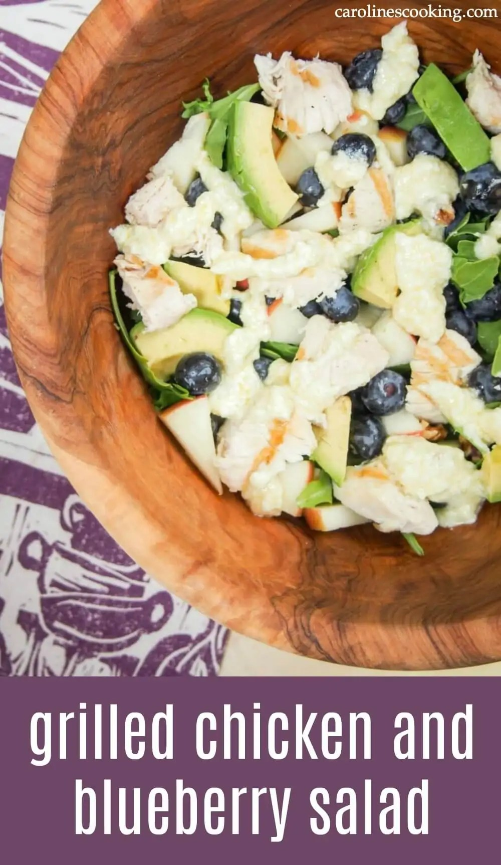 This grilled chicken and blueberry salad is healthy, easy to make & full of delicious flavors from the lemon-feta dressing to berries & nuts. A great lunch or light meal. #salad #grilledchicken