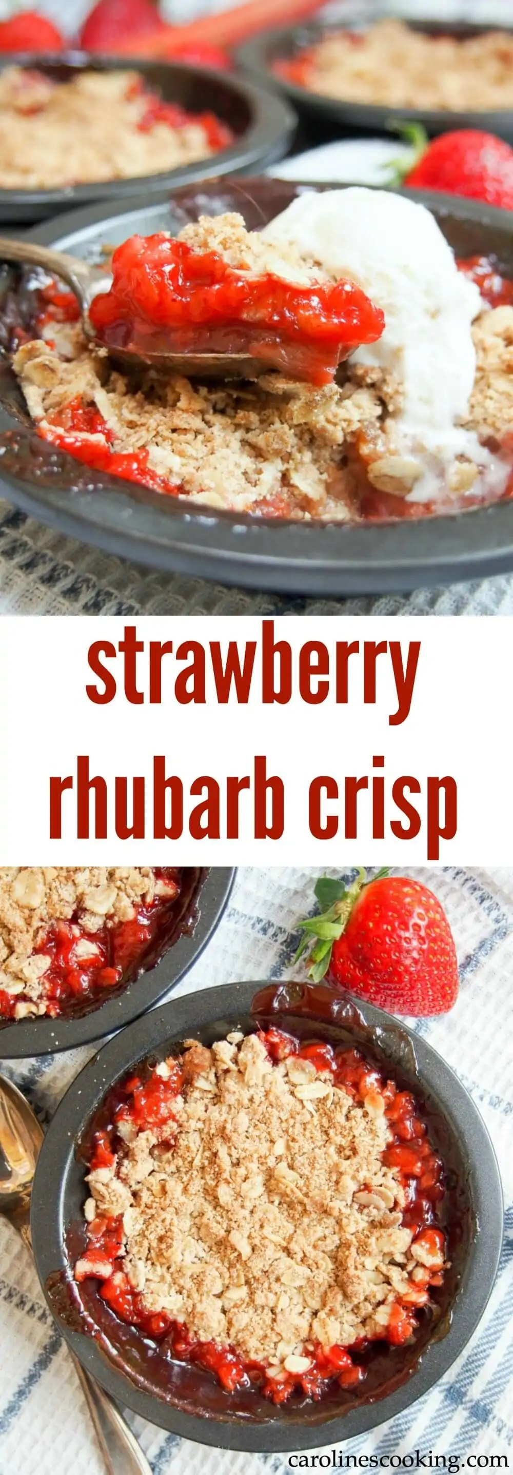 This strawberry rhubarb crisp is a great easy dessert. Deliciously fruity, with bites of tart rhubarb and a sweet, crisp topping. So good! Easily made gluten free