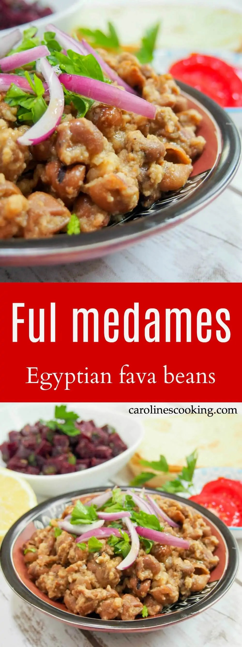 Ful medames is a classic Egyptian dish - incredibly simple warm, seasoned fava beans. Traditionally breakfast, but great as part of any mezze meal.