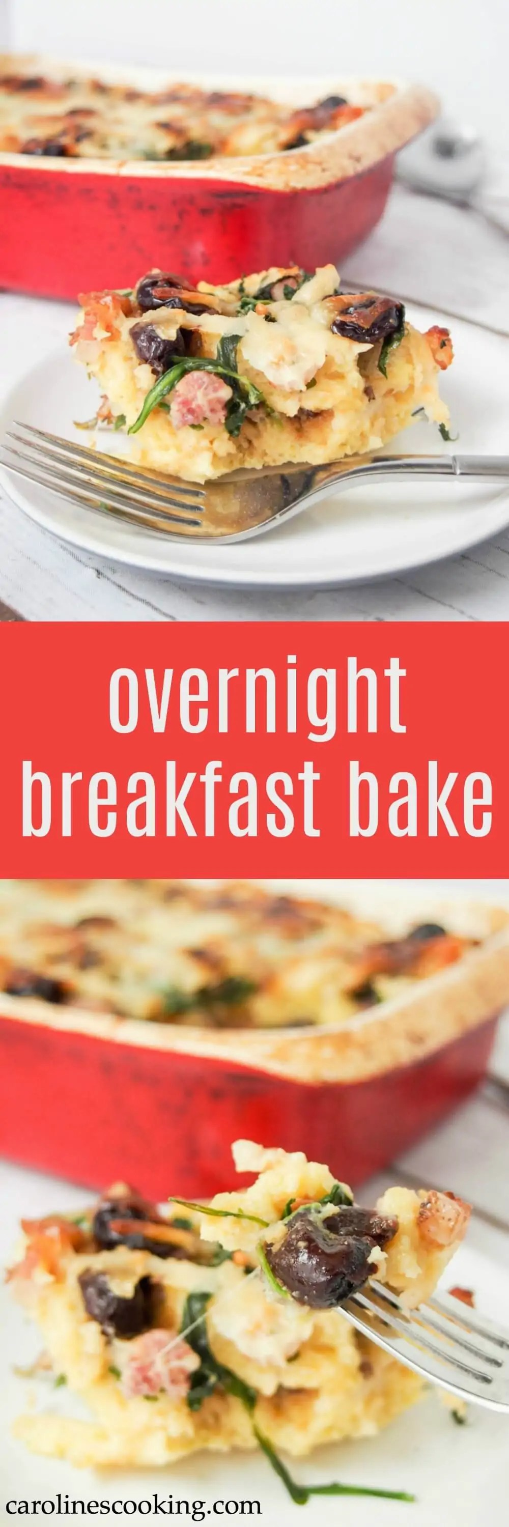 This overnight breakfast bake has delicious bursts of flavor from dried cherries, pancetta and parmesan. An easy prep the night before, then bake it up and serve in the morning. Everyone will love it!