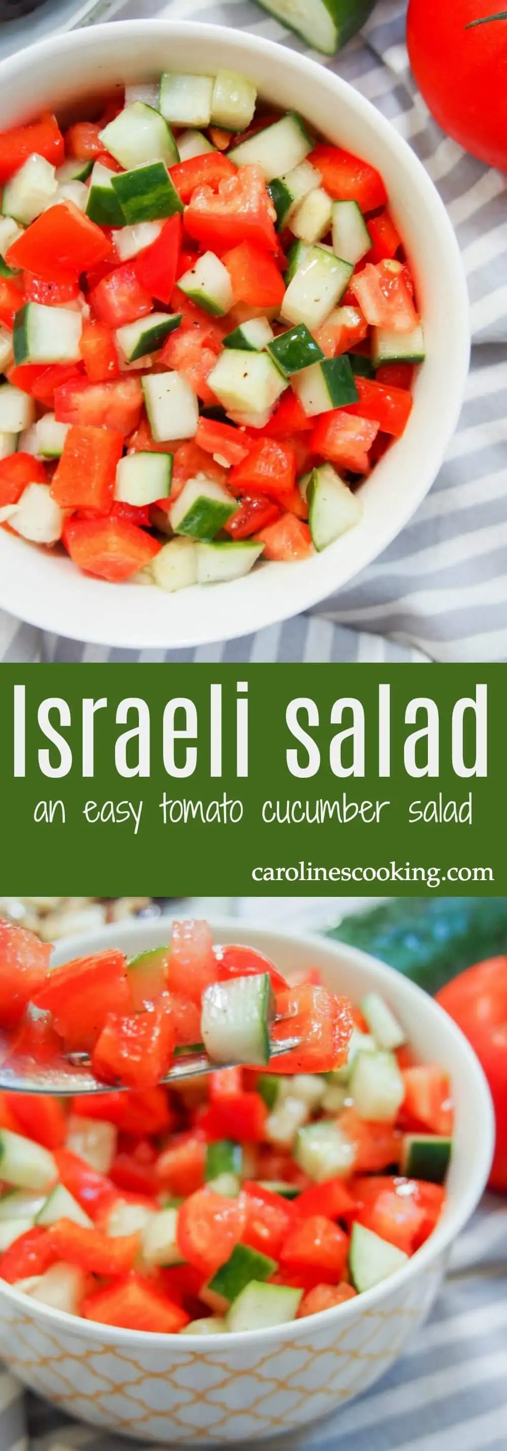 Israeli salad is an incredibly simple combination but deliciously fresh. It's an iconic tomato cucumber salad that you'll find everywhere in Israel from alongside breakfast to in your pitta with warm falafel. Incredibly versatile, vegan and a fantastic summery side,