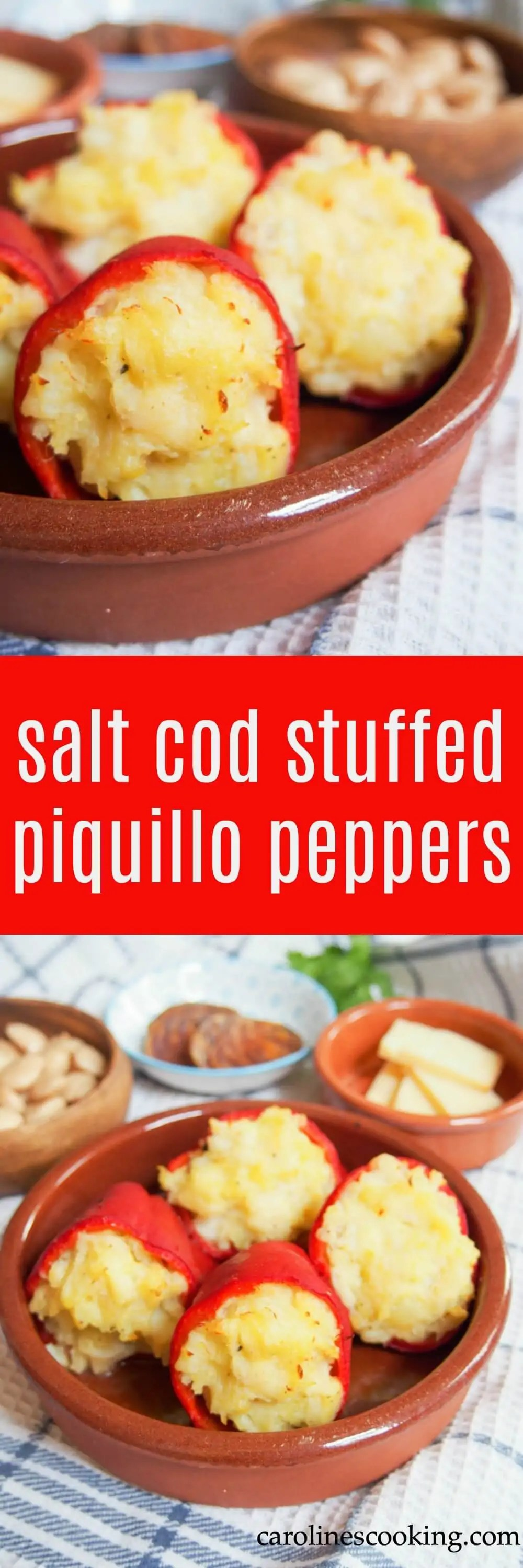 Salt cod stuffed piquillo peppers are comfort food in tapas form - the potato and salt cod filling is smooth and packed with flavor. They make a great appetizer or serve as part of a tapas meal.