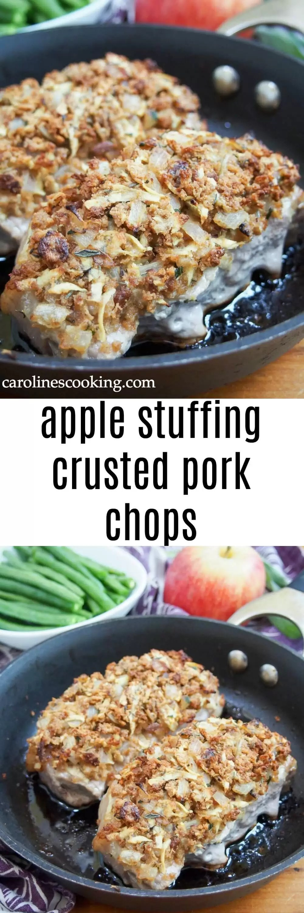 These apple stuffing crusted pork chops are easy to make and full of fall flavors. Comforting, flavorful and a great main for any night of the week. #apple #pork #stuffing