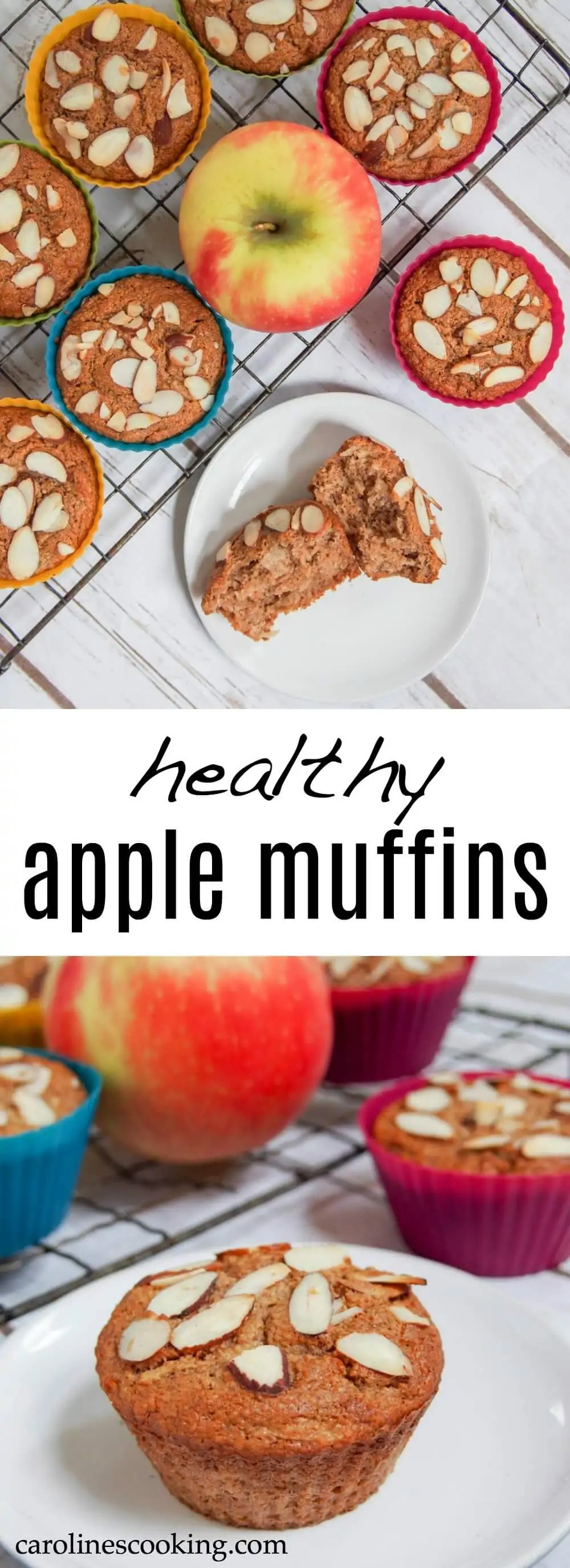 These healthy apple muffins are wonderfully moist, with fantastic apple flavors and a lovely crunch from the almonds on top. You'd never guess they were healthier. A delicious fall flavored snack.