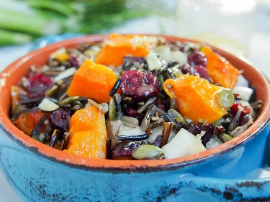 Butternut squash wild rice salad with cranberries and fennel