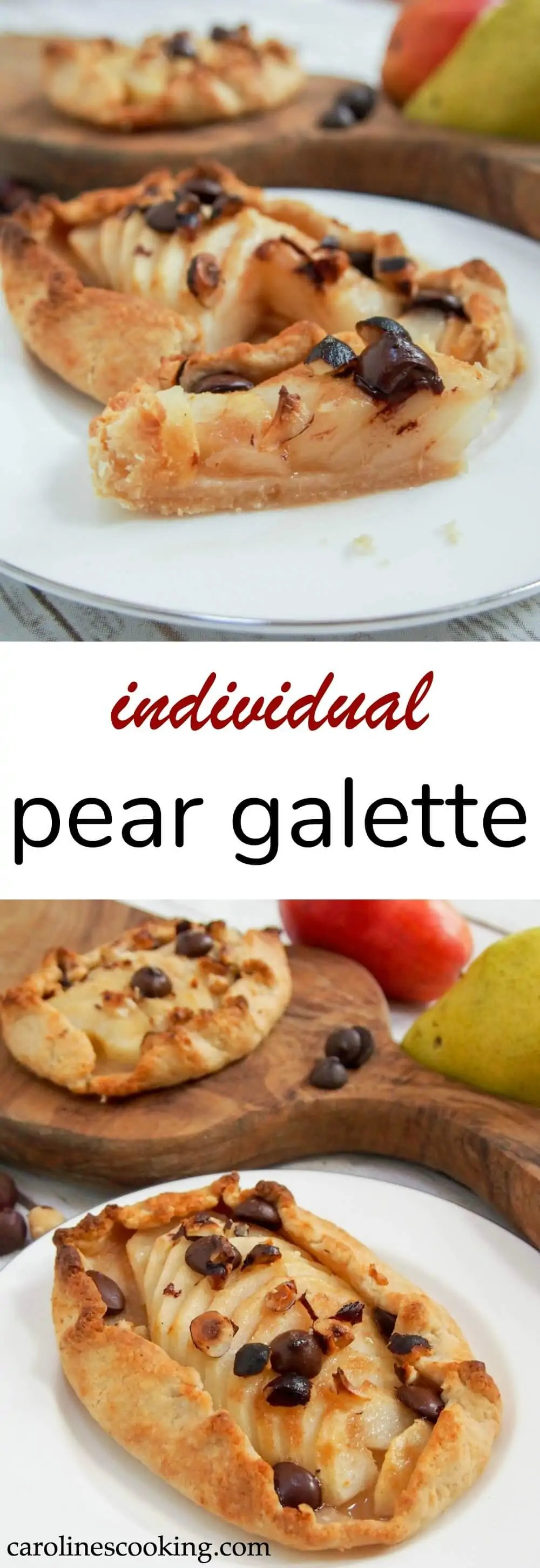 This individual pear galette is easy to make and a delicious combination of sweet pear and lightly crisp pastry. It's a dessert that's as good as it looks. #pear #galette #tart