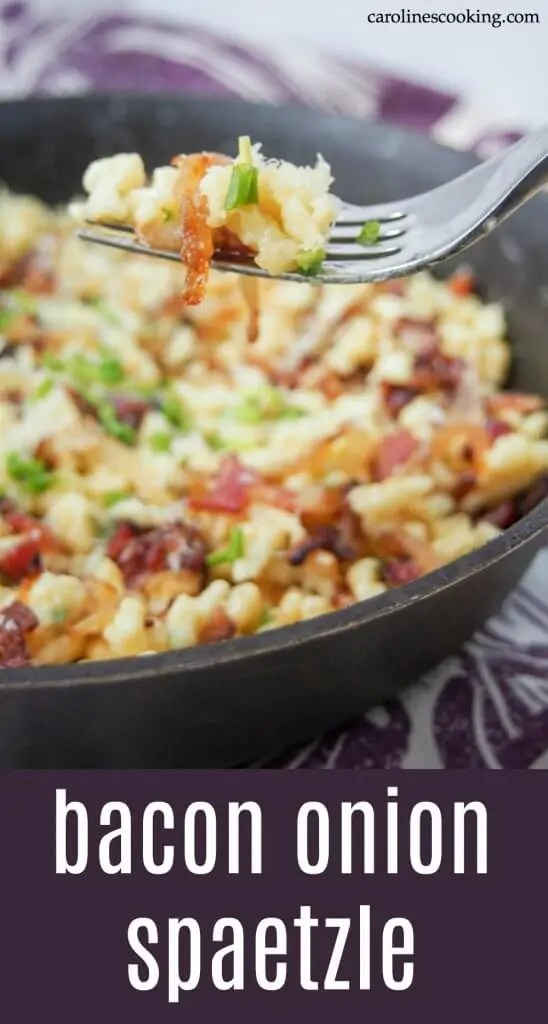 Bacon onion spaetzle in a simple but delicious combination of spaetzle (or other small pasta), bacon, caramelized onions and cheese. Perfect comfort food, it makes a delicious lunch or any meal. #spaetzle #germanfood #oktoberfest #comfortfood