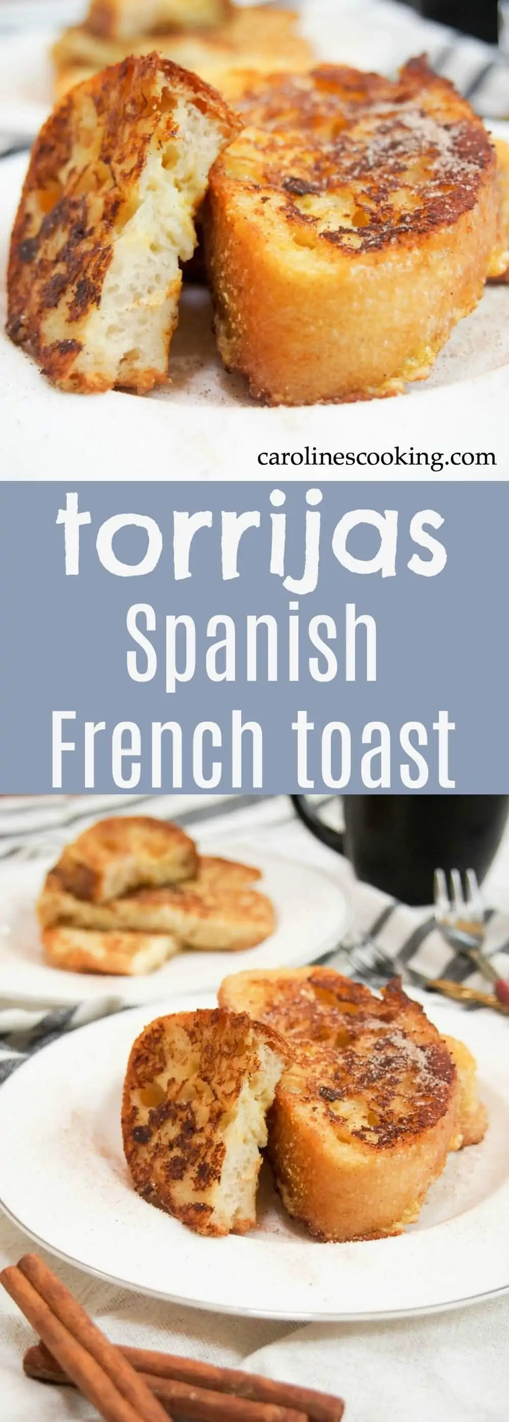 Spanish French toast, torrijas, is traditionally served during Easter, but there's really no reason why you shouldn't enjoy this tasty treat any time of year. Soft inside, crisp outside and gently and warmly flavored, it'll be love at first bite. You'll not want to go back to your typical French toast breakfast after this. #Frenchtoast #Spanish #breakfast