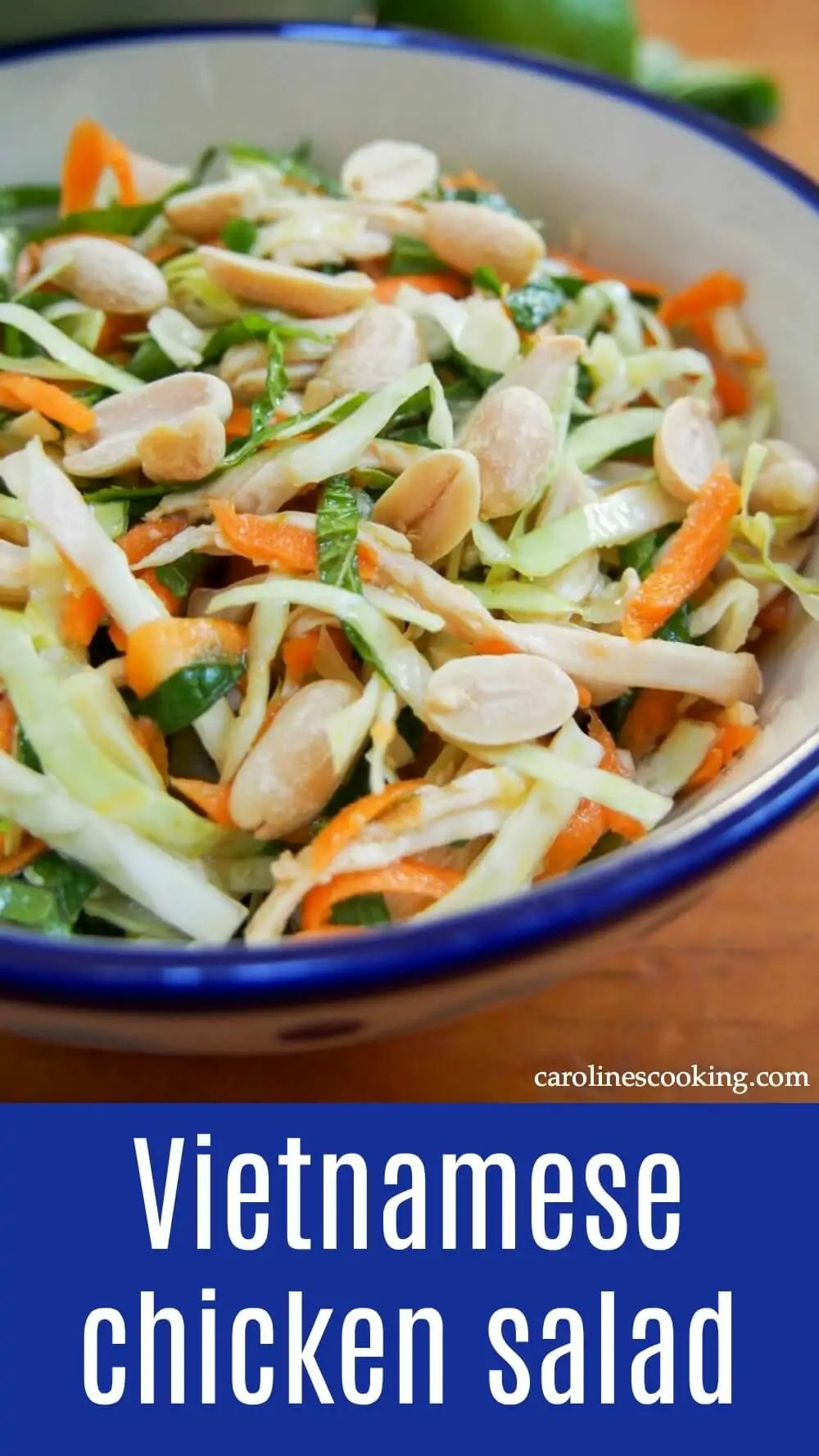 Vietnamese chicken salad is simple but delicious - a great way to enjoy leftover chicken (or turkey) alongside vegetables, mint and a punchy Asian dressing. It's perfect for your lunchbox or to take on a picnic too. #chicken #salad #thanksgivingleftovers