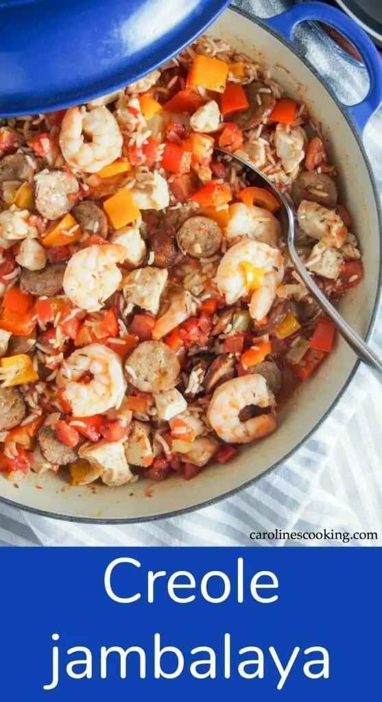 Jambalaya is a classic Louisiana dish, taking it's origins from Spanish paella and French cooking. With rice, chicken, shrimp, andouille sausage and plenty colorful veg, this Creole jambalaya is a flavorful, comforting dish. Even better, it's a one pot meal and this version doesn't take forever to cook. #comfortfood #jambalaya #creole