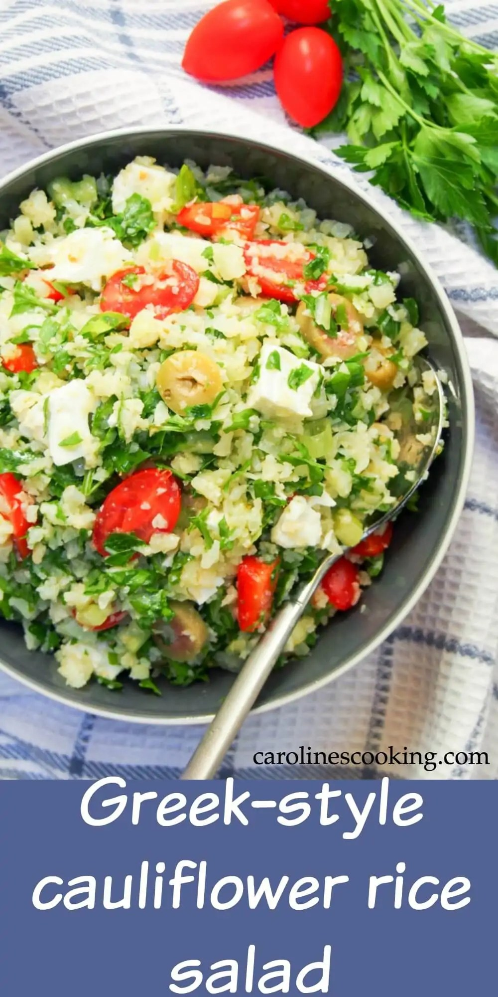 This Greek-style cauliflower rice salad is low on carbs and high on taste - full of Mediterranean flavors and so easy to make. It also packs well so is perfect for a picnic, potluck or lunchbox. #salad #lowcarb #cauliflowerrice #glutenfree