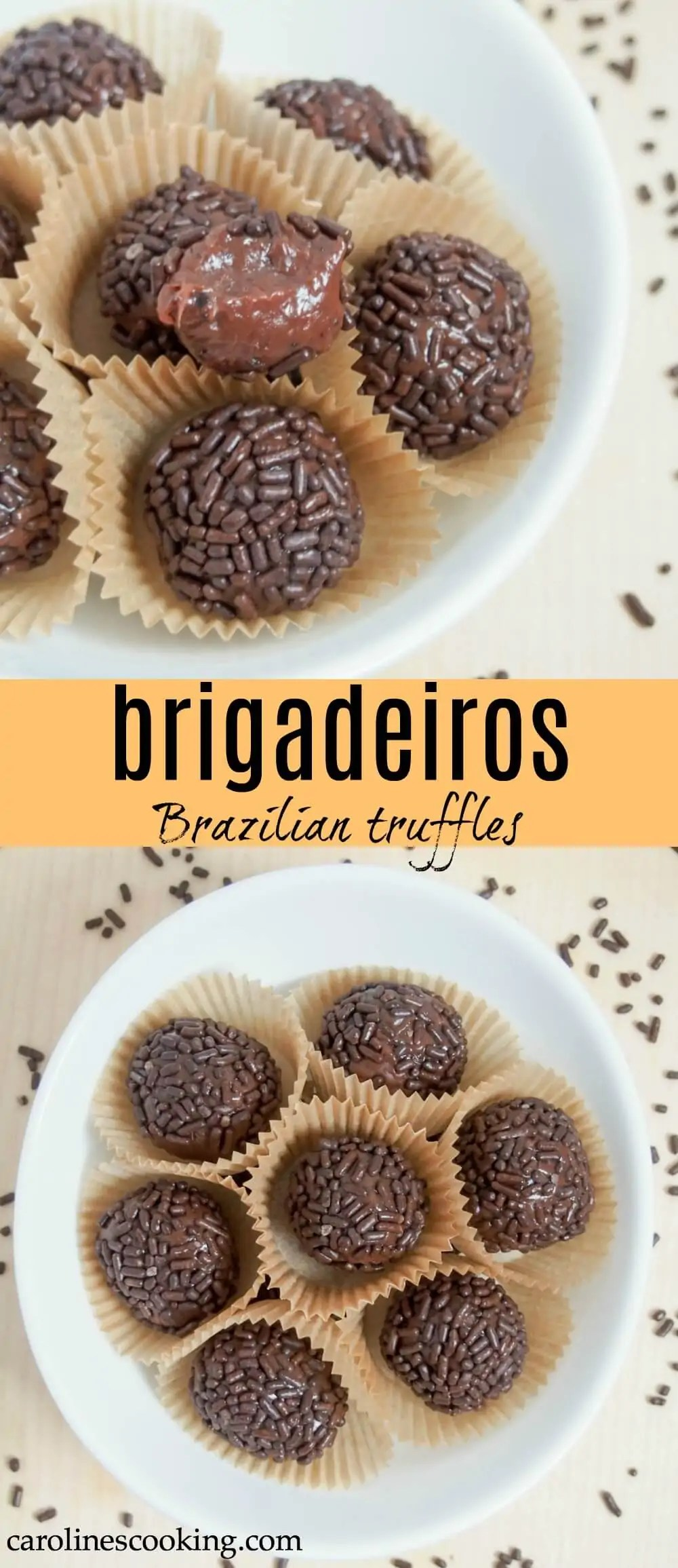 Brigadeiros are a kind of fudge/truffle from Brazil that's often enjoyed for carnival, but really I think most people will make any excuse. They're a really easy sweet treat that the whole family will love. #brazilian #truffle #chocolate