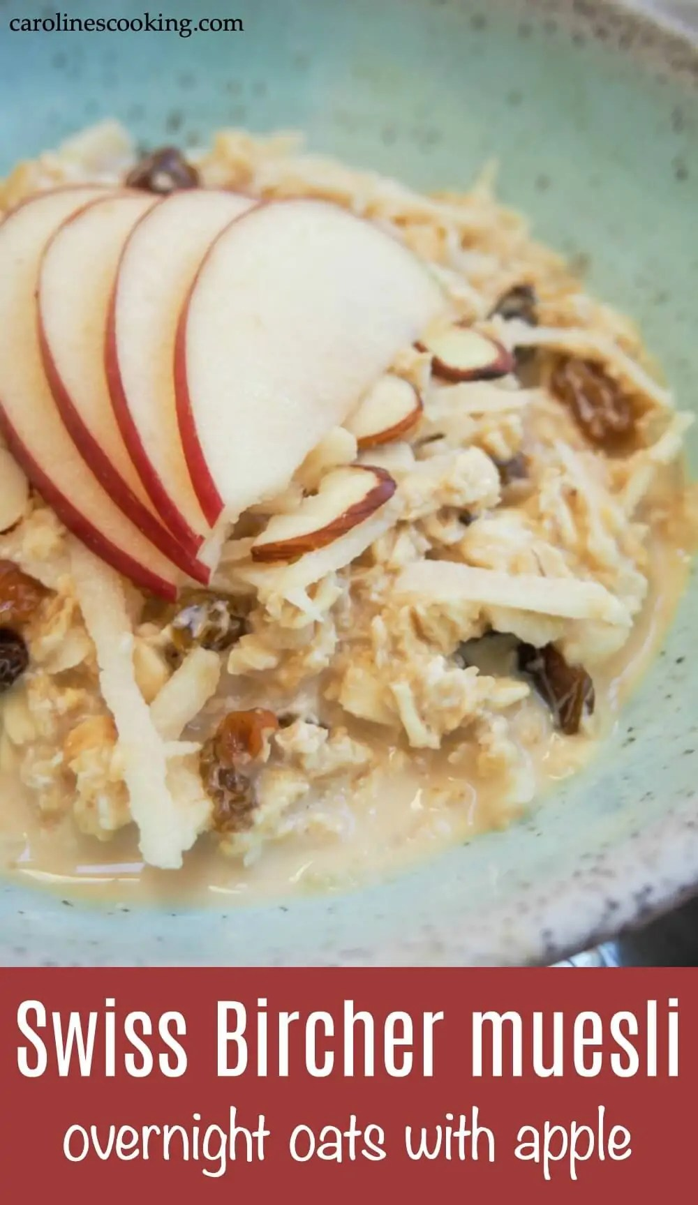 This delicious Swiss bircher muesli (the original overnight oats) makes a great start to your day - fresh, healthy and a lovely balance of smoothness & crunch. It's quick and easy to make, and is easily made dairy-free. #breakfast #easybreakfast #breakfastrecipe #overnightoats #apple
