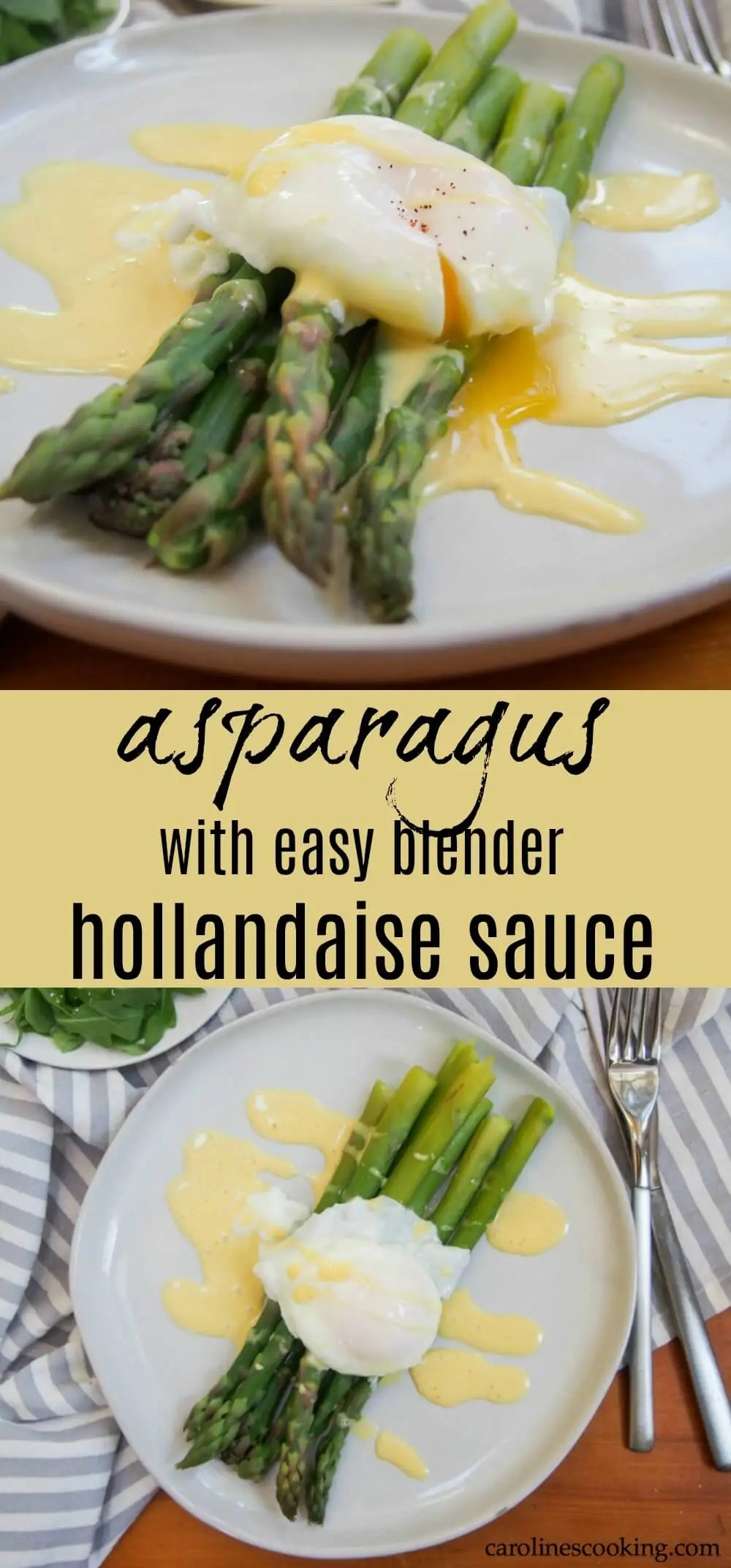 Asparagus with easy blender hollandaise sauce and poached egg makes an easy and delicious breakfast/brunch or lunch. Full of the tastes of spring, it's light but feels that bit indulgent. #ad #brunchweek #asparagus #brunch #hollandaise #vegetarian