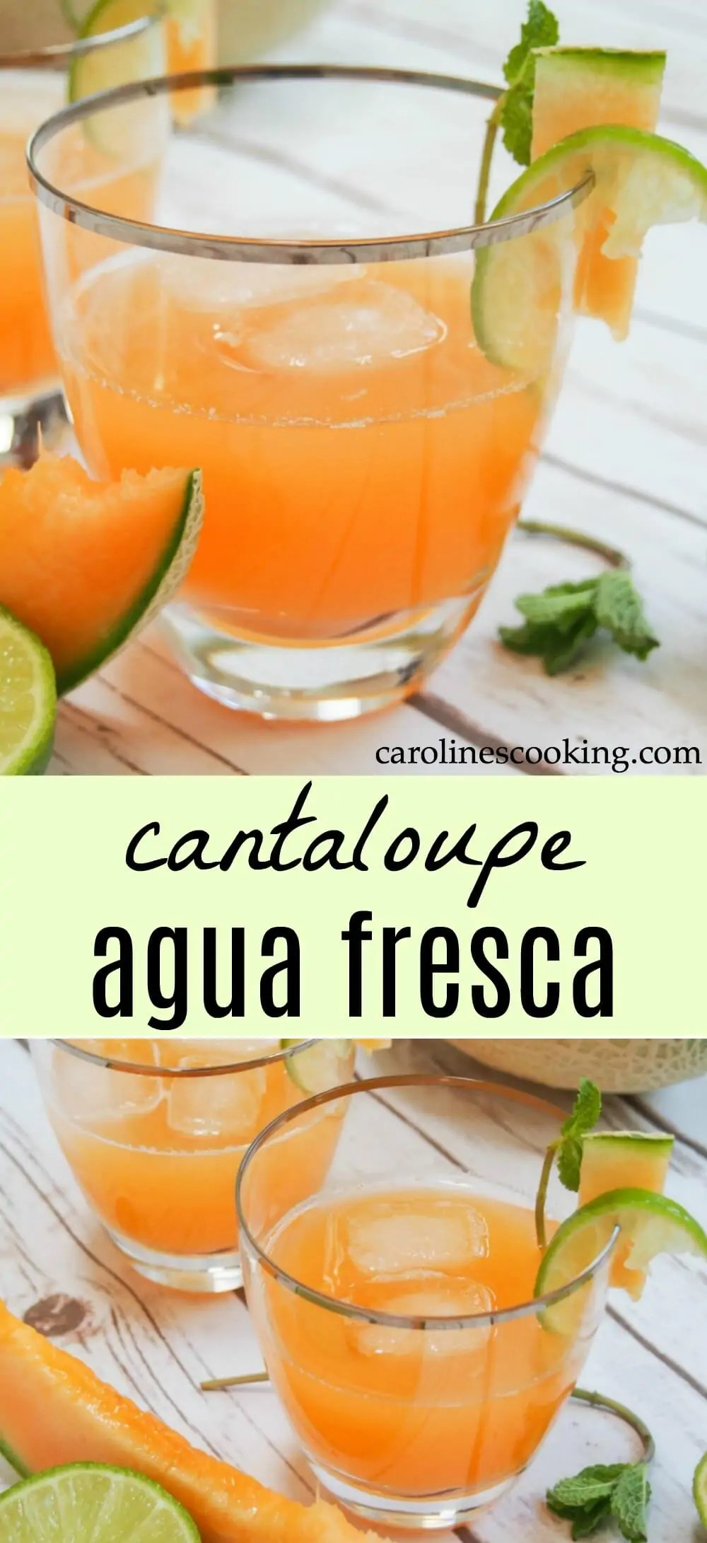 Cantaloupe agua fresca is easy to make and incredibly refreshing. Light and gently fruity, it's a family-friendly drink perfect for a warm day. All you need is cantaloupe, water and lime. It'll quench your thirst on a warm day and is a great, light option alongside a meal. #cantaloupe #drink #mexican #nonalcoholic