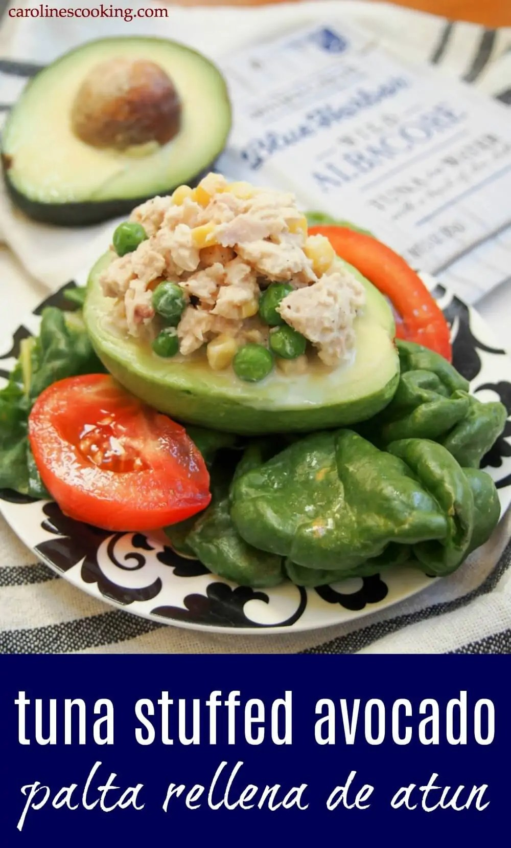 Looking for an easy, no-cook dish? This tuna stuffed avocado comes together in 5 minutes and makes a delicious, healthy lunch or appetizer! Palta Rellena is a common dish in South America, particularly Peru and Chile, and comes with different stuffings, but it can hardly get easier than this tuna version. Simple, tasty flavors that are perfect anytime. #BlueHarborFishCo AD https://www.carolinescooking.com/tuna-stuffed-avocado-palta-rellena/