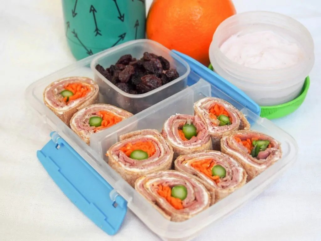 lunchbox idea: meaty cheesy pinwheels