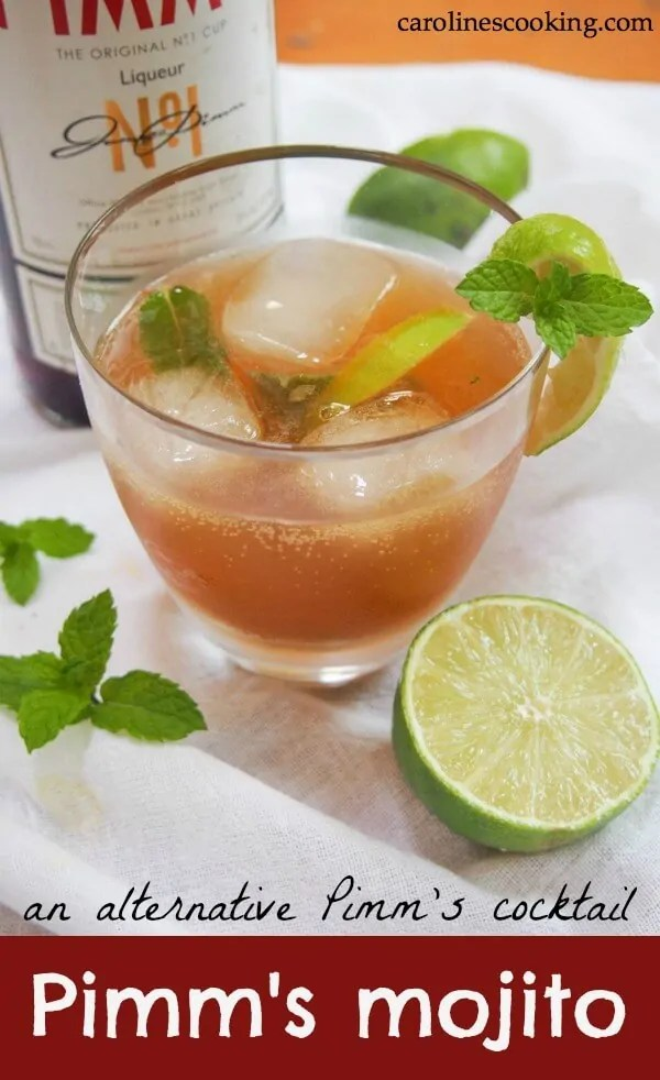 Pimm's mojito - an alternative Pimm's cocktail. If you know of Pimm's at all, you probably know the classic way to serve it. But Pimm's is good for more than just one drink. This Pimm's mojito is an alternative Pimm's cocktail that's just as refreshing and perfect for summer. Easy to make too. #pimms #cocktail #summercocktail
