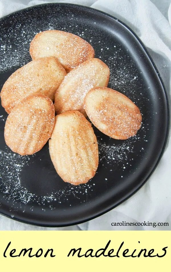 Lemon madeleines are a classic French treat. This small batch recipe makes the perfect amount to enjoy the light, sweet and gently crisp deliciousness while they are nice and fresh - in other words the best way! With a lovely lemon flavor, these are addictively good. #madeleines #sweet #baking #frenchcookie