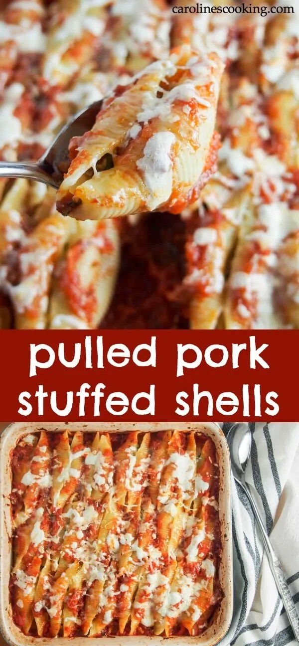Give leftover pulled pork a new lease of life in another wonderfully comforting dish. These pulled pork stuffed shells are a delicious combination of flavorful pork, cheesy goodness, all nestled in tomato sauce. So good! #stuffedshells #pasta #pulledpork #leftovers #comfortfood