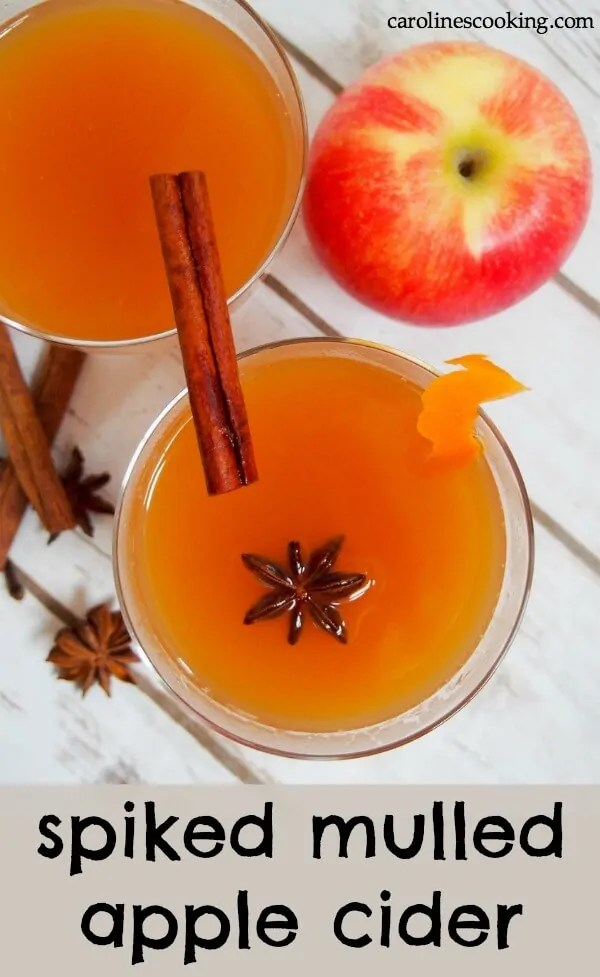 This spiked mulled apple cider is gently spiced, packed with apple flavor and just enough spirit (if you choose to use some) to give it that little kick. It's the perfect easy cocktail recipe to warm you through and through! #warmcocktail #applecider #spikedcider #cocktail