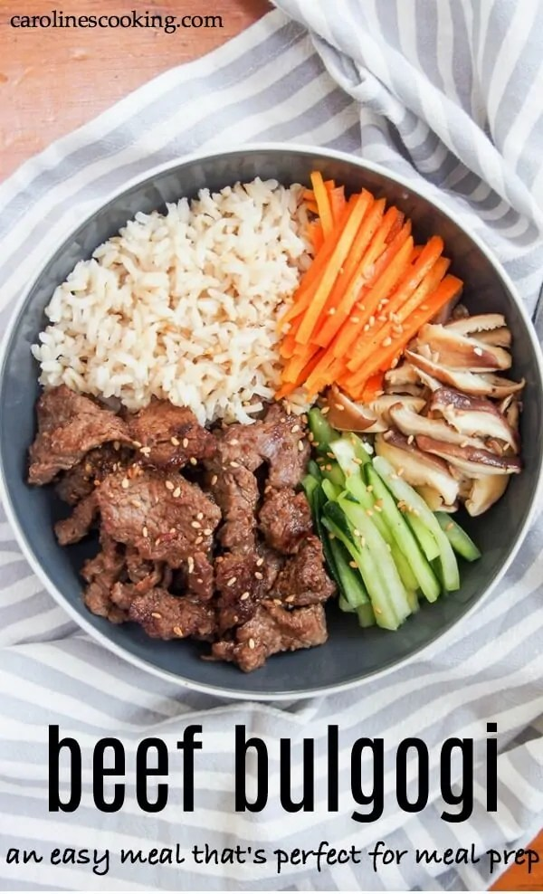 Beef bulgogi is an easy and delicious meal that's perfect for meal prep. You simply mix up the easy marinade, add the beef and leave it to marinade a while. Then cook it up in minutes! Recipe comes with a suggested set of sides for a full meal, meal prep tips and ideas to change it up. #beef #koreanfood #mealprep #easyrecipe