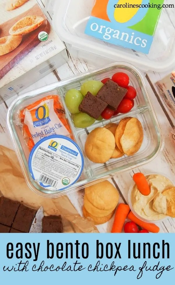 AD This easy bento box lunch is so quick to make and is a tasty mix both kids and adults will enjoy. It takes mere minutes to put together using delicious, good for you, organic ingredients. Even the chocolate chickpea fudge treat is good for you! Give it a try! #OOrganics #bentobox #lunchbox