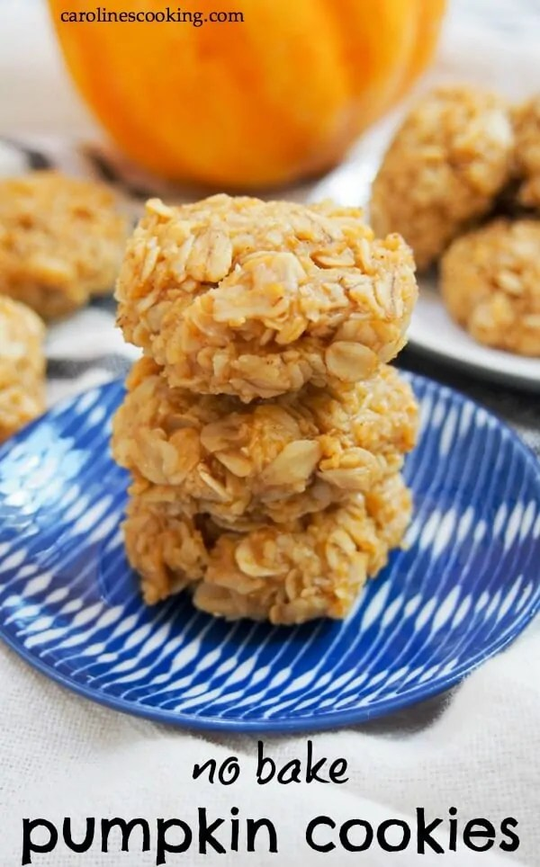 If you need a quick fall treat, these no bake pumpkin cookies are a perfect choice. They take mere minutes to make and are sweet, chewy and oh so good! Gluten free if you use GF oats, they are perfect for parties, lunch boxes, after school treats or any excuse you want. #nobakecookie #pumpkincookie #glutenfreecookie