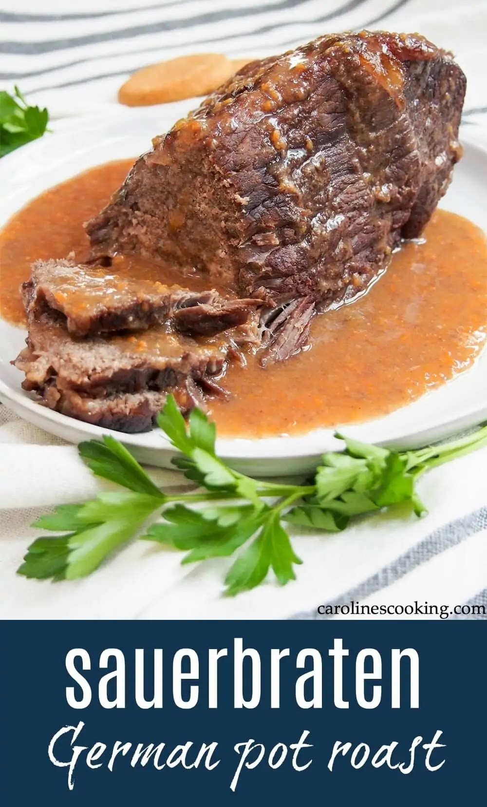 Sauerbraten is far from your typical pot roast, though it's might be described as one. This traditional German dish takes a bit more prep, but there's such depth of flavor from the spiced wine and vinegar-based marinade and the final touch adds a special little something! Comforting deliciousness. #germanfood #potroast #sauerbraten #oktoberfest