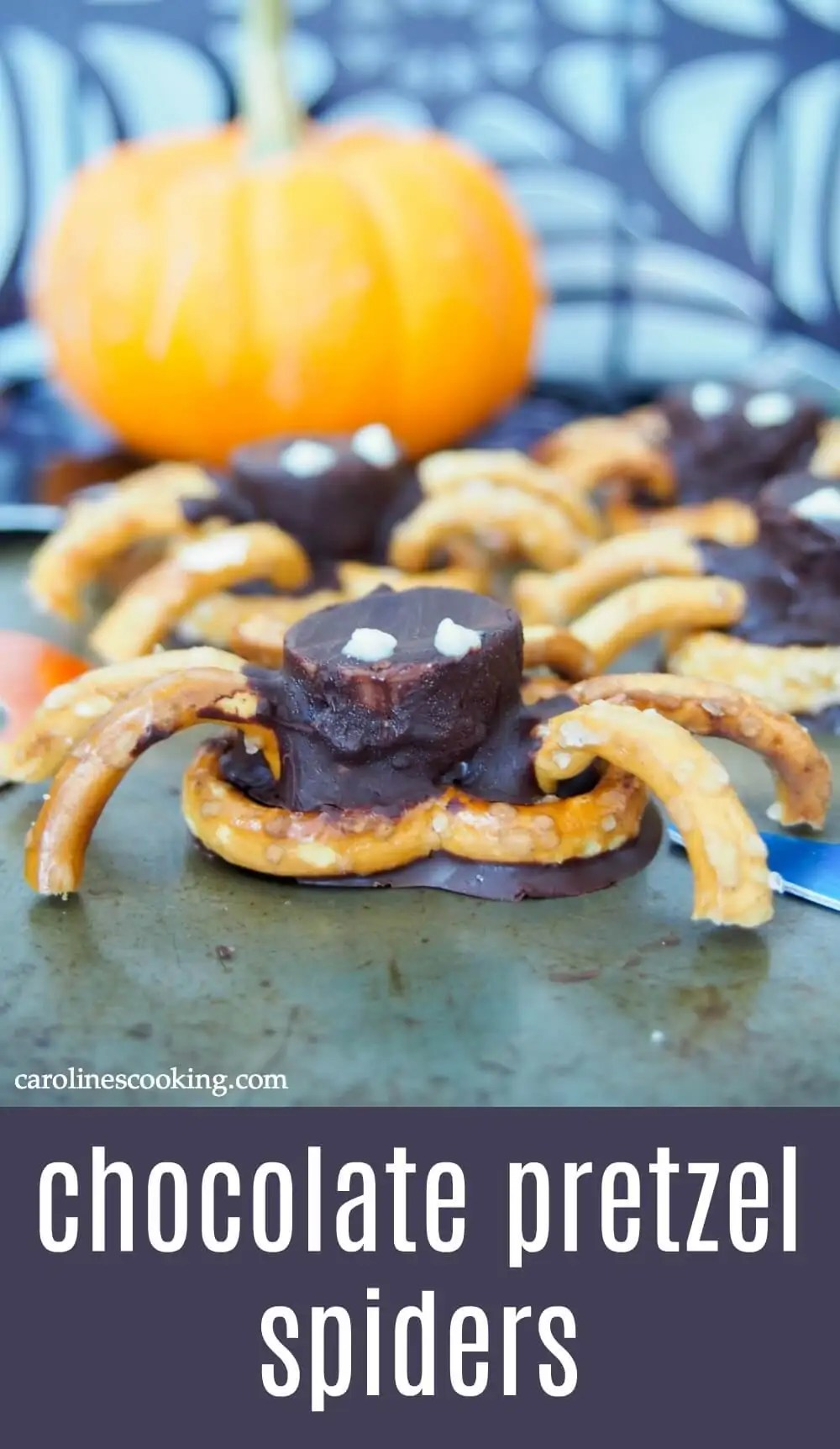 These chocolate pretzel spiders are the perfect fun snack for your next Halloween party! Easy enough for the kids to help make and a tasty sweet-salty mix.#halloween #pretzelspider #halloweensnack