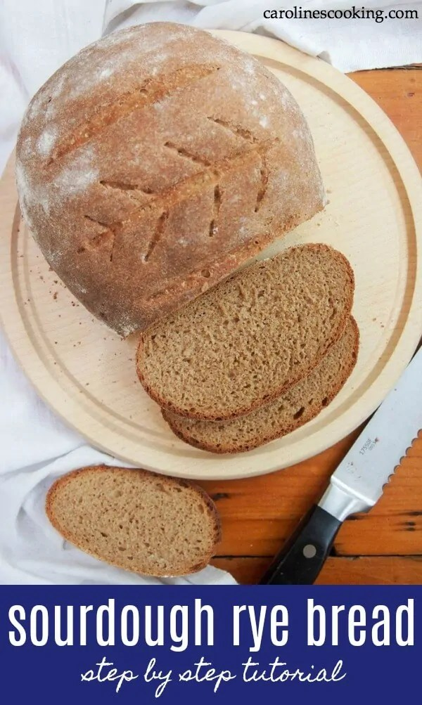 This step by step tutorial takes you through every step to make a delicious German style sourdough rye bread, including the starter. It's easier than you think! This is a part rye part wheat loaf (Mischbrot) giving it the tasty flavor you would expect from rye and sourdough but without being too dense. It makes a great everyday loaf. #sourdough #ryebread #homemadebread