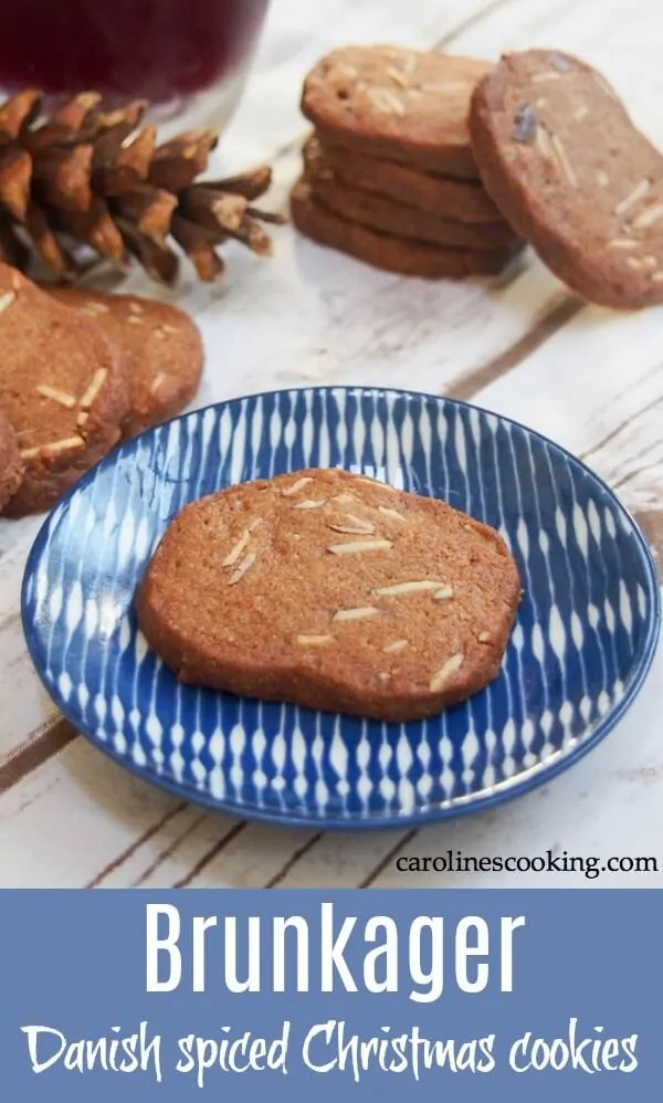 Brunkager are Danish Christmas cookies with a delicious spiced flavor and a wonderful crunch. The combination of warm spices, almonds and just a touch of marmalade (no really!) is so good. Perfect to add to your Holiday cookie plate. #danishfood #christmascookies #holidaybaking #spicedcookie