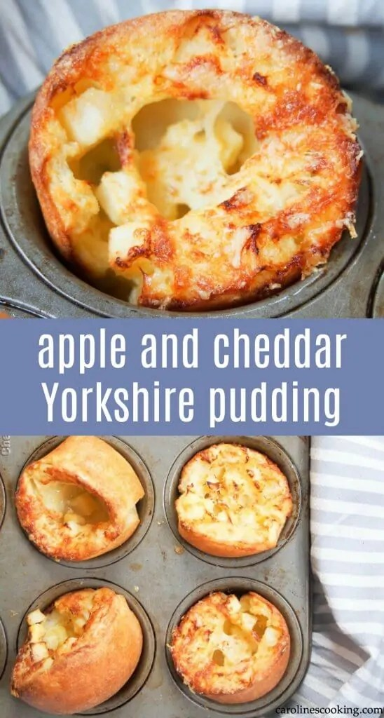 Change up the traditional! These apple and cheddar cheese Yorkshire pudding make for an incredibly easy and tasty breakfast, snack or side. Pretty much the same as a popover, these are easy to make, and the cheese and apple addition make them so much more flavorful, being almost as good cold as fresh out the oven. #Yorkshirepudding #cheesepopover #snack #easyside