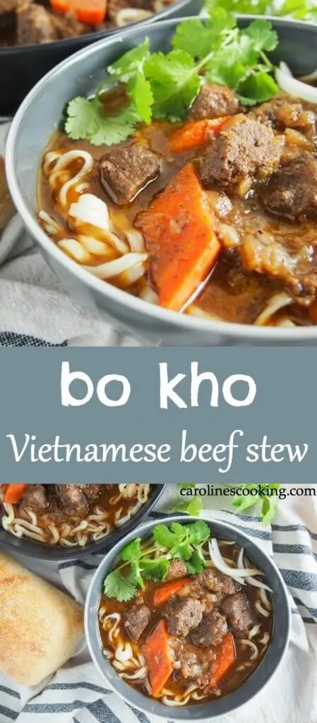 Bo kho may not be as well known as pho, but it's a classic dish you need to get to know. This Vietnamese beef stew has a wonderful depth of flavor from aromatic spices, lemongrass, ginger and coconut water. It's warming, delicious and easy to make too. #vietnamesefood #beefstew #vietnamesestew