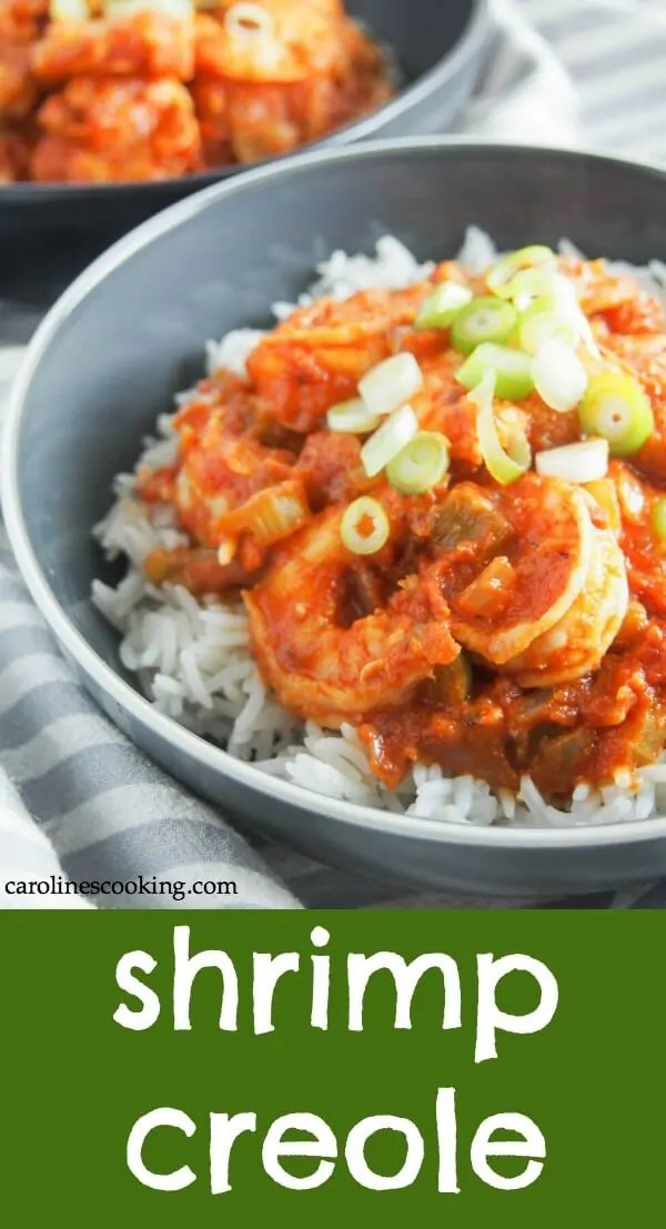 Shrimp Creole is a classic Louisiana dish that's quick & easy to make, and packed with flavor. Spice it up or down, these are flavors you're sure to love. Perfect for a quick meal on a busy night, date night, or to get in the Mardi Gras spirit. #shrimp #shrimpcreole #30minutemeal #seafood