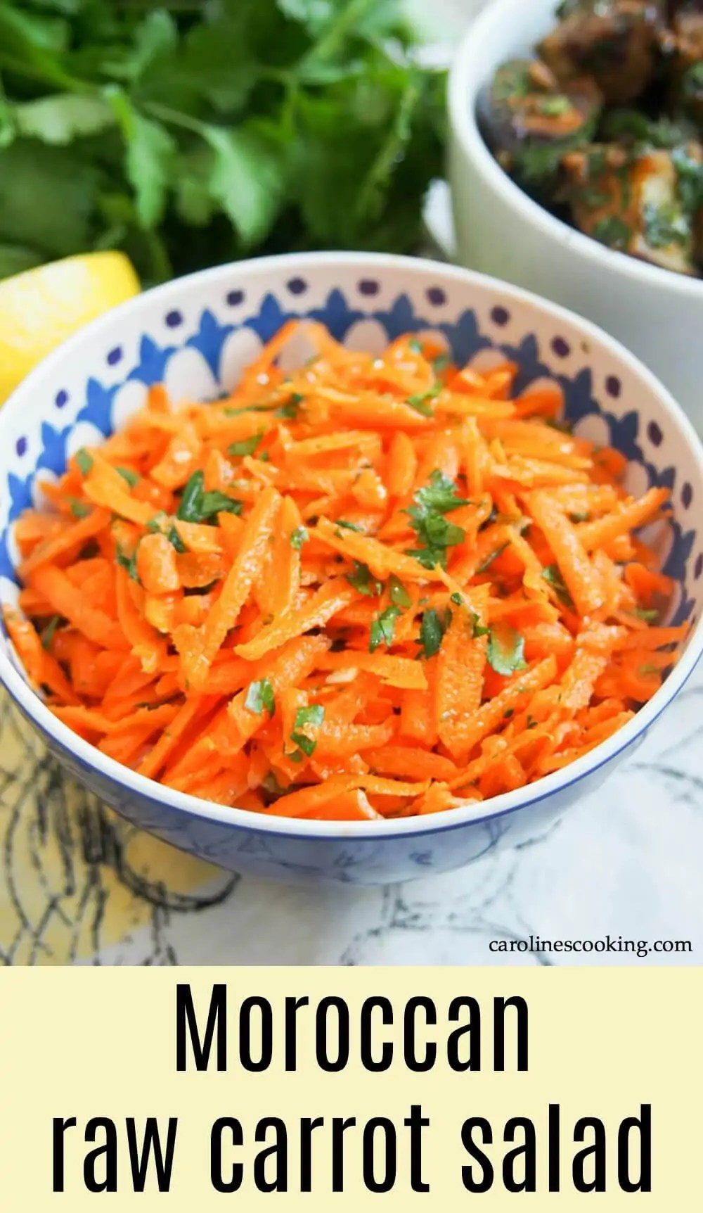 This Moroccan raw carrot salad takes only a few minutes to make, has a short list of ingredients and is packed with flavor. Perfect alongside other dishes as part of lunch, mezze and more. #carrotsalad #mezze #vegansalad #Moroccansalad