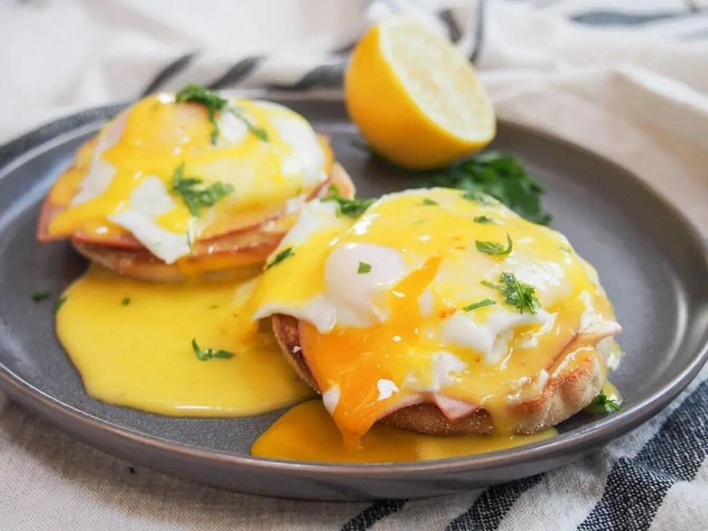 eggs Benedict on plate