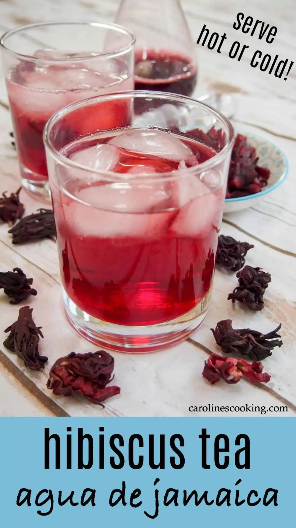 Agua de jamaica, hibiscus tea, is a wonderfully refreshing drink that's so easy to make. Slightly floral, with hints of pomegranate and cranberry, it's as delicious as it is beautiful. #nonalcoholicdrink #mexicandrink #hibiscus #colddrink