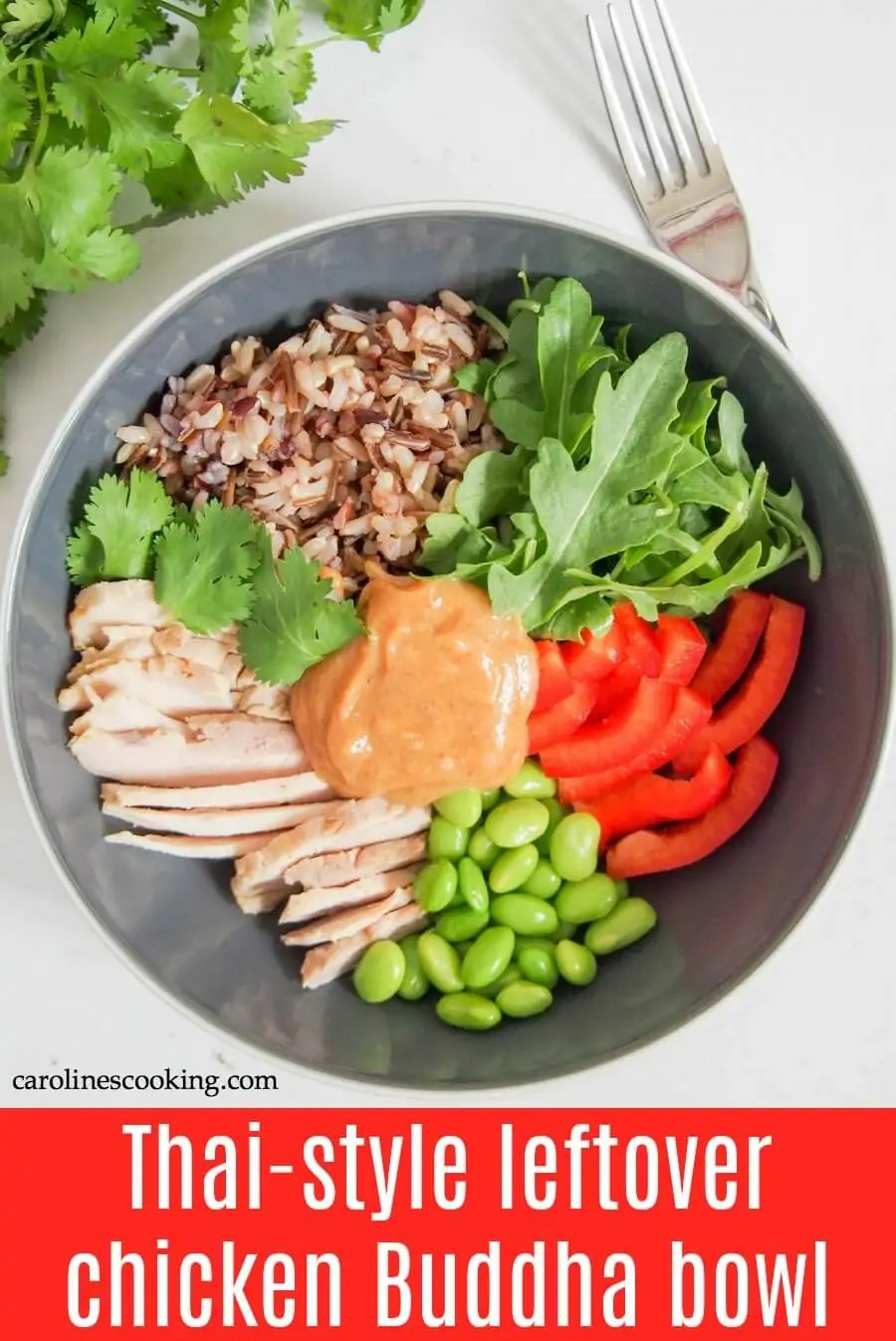 If you're ever on the hunt for healthy, easy leftover chicken recipes, this Thai-style leftover chicken Buddha bowl needs to be on your list. It's really quick and easy to make, packed with goodness and delicious too. #leftoverchicken #buddhabowl #chicken #rice #sataysauce