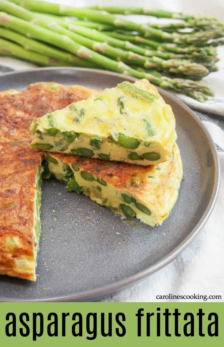 This asparagus frittata is easy to make and the kind of dish that's as good at breakfast as lunch or dinner. With simple flavors, it's both fresh and comforting - plus easy to adapt too! Serve as it is, with salad, or as a side along side other mains. #frittata #asparagus #vegetarian