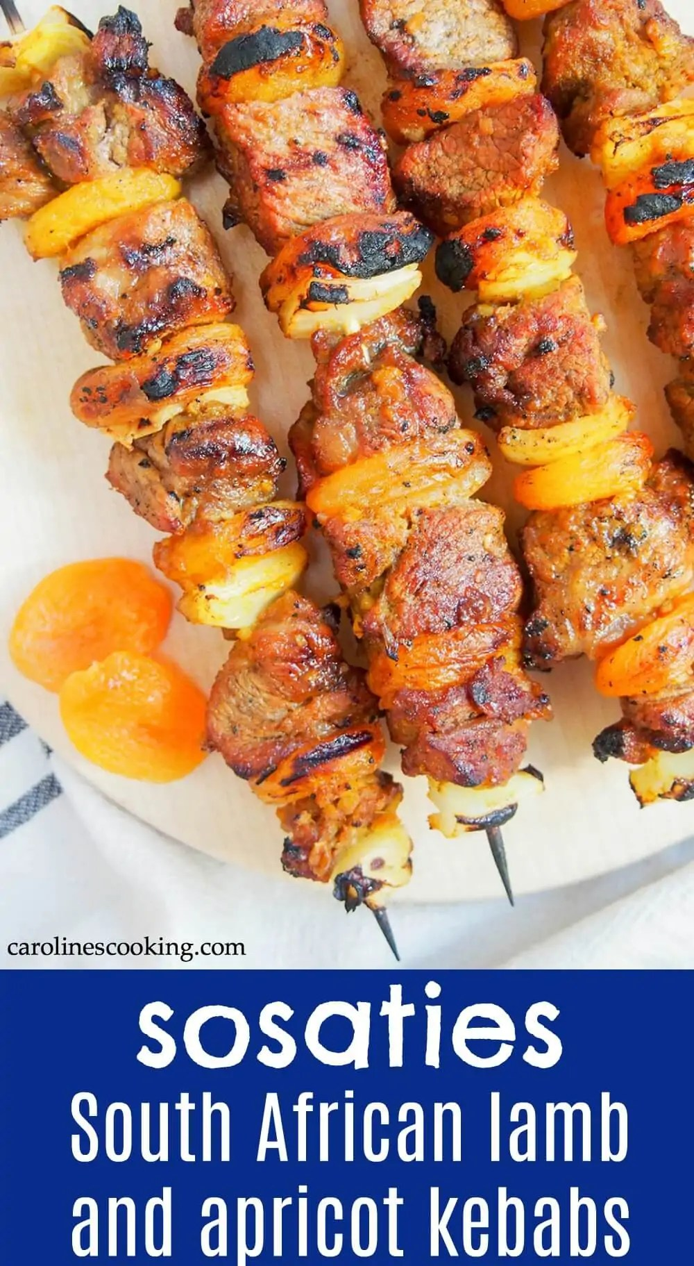 Sosaties are a South African braai (BBQ) classic - the apricot jam-curry marinade on these skewers might sound unusual, but it's so easy and delicious! Here they are made with lamb, but you can also make them with chicken or beef. #lambkebabs #grilledllamb #grillrecipe #marinatedmeat