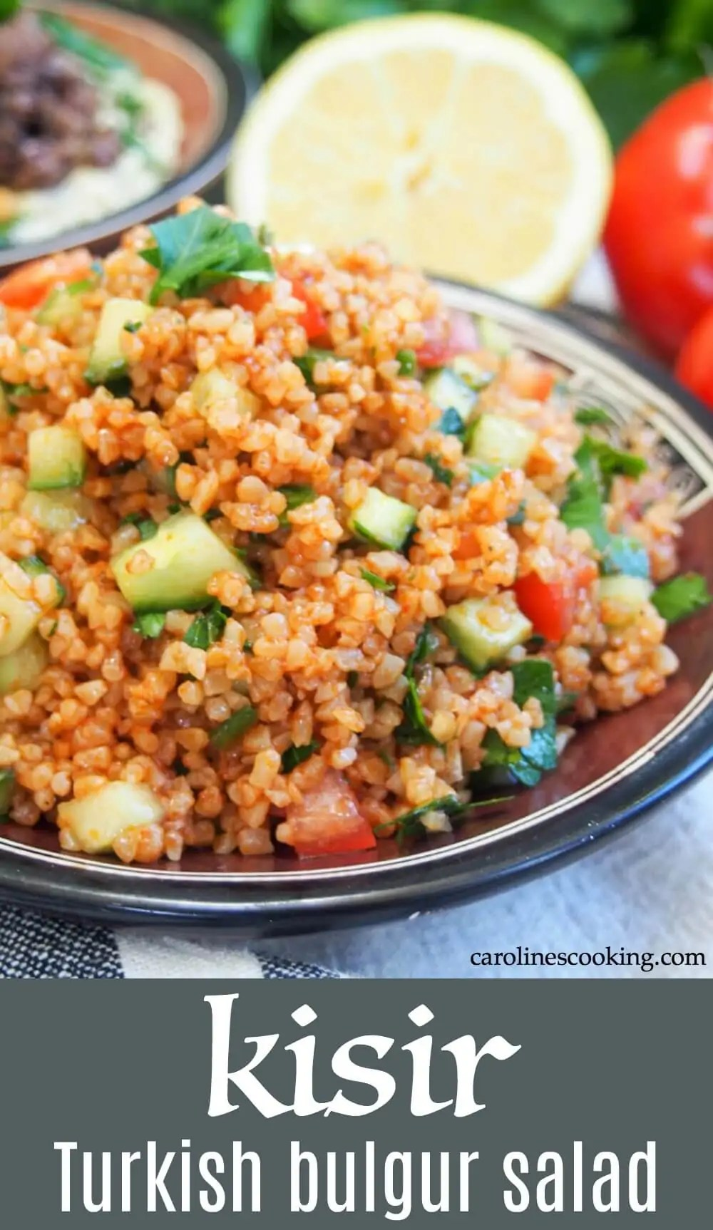 Kisir is a simple, flavor-packed Turkish bulgur salad. It has some similarities to tabbouleh but definitely deserves it's own place on a meze or lunch table with it's wonderful tart-savory flavors. It's quick and easy to make, vegan and packed with vegetables and whole grains. A tasty side or enjoy as a lunch, it also packs up well. #bulgursalad #vegan #turkishsalad