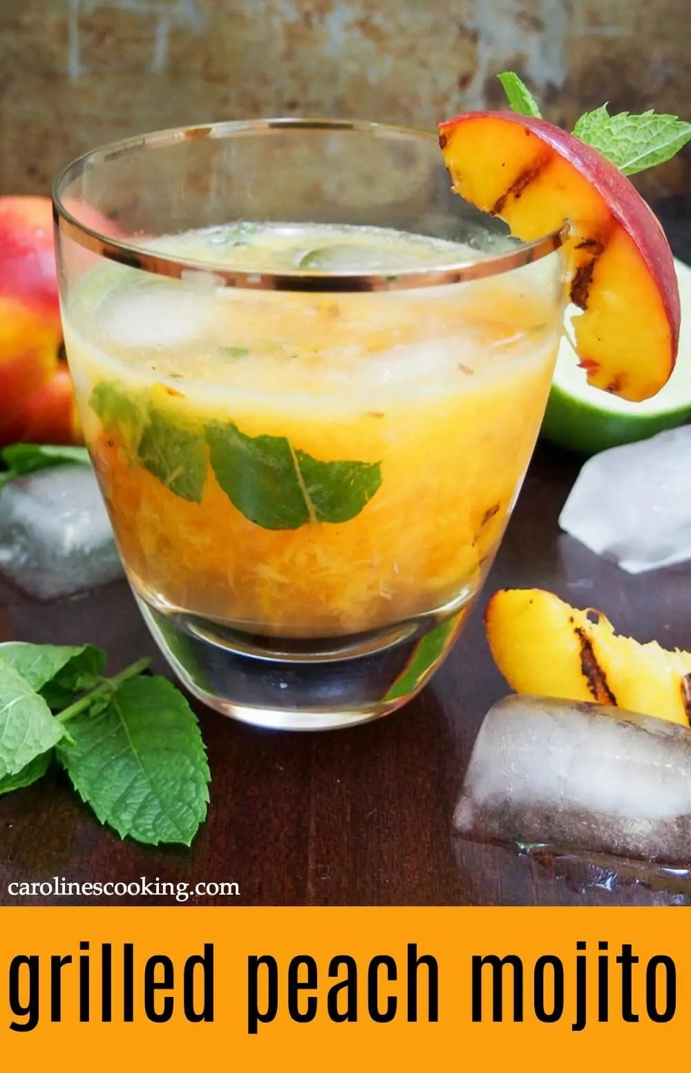 This grilled peach mojito is a deliciously fruity twist on the classic cocktail. Easy to make, it's full of fresh summery flavors. Recipe includes a few adaptations including as a mocktail or frozen. #mojito #peach #cocktail