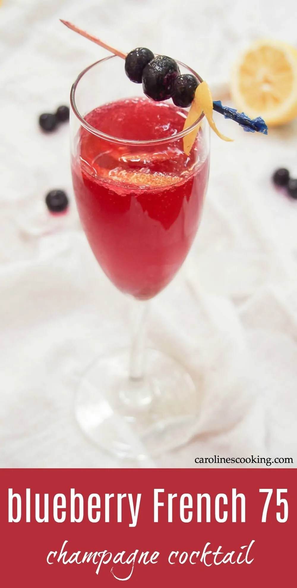 This blueberry French 75 is a simple, colorful twist on a classic champagne cocktail. It's bright, bubbly and begging to be sipped! It would make a great signature cocktail for a party, but is also easy to make by the glass just because. #cocktail #champagne #blueberrycocktail #champagnecocktail