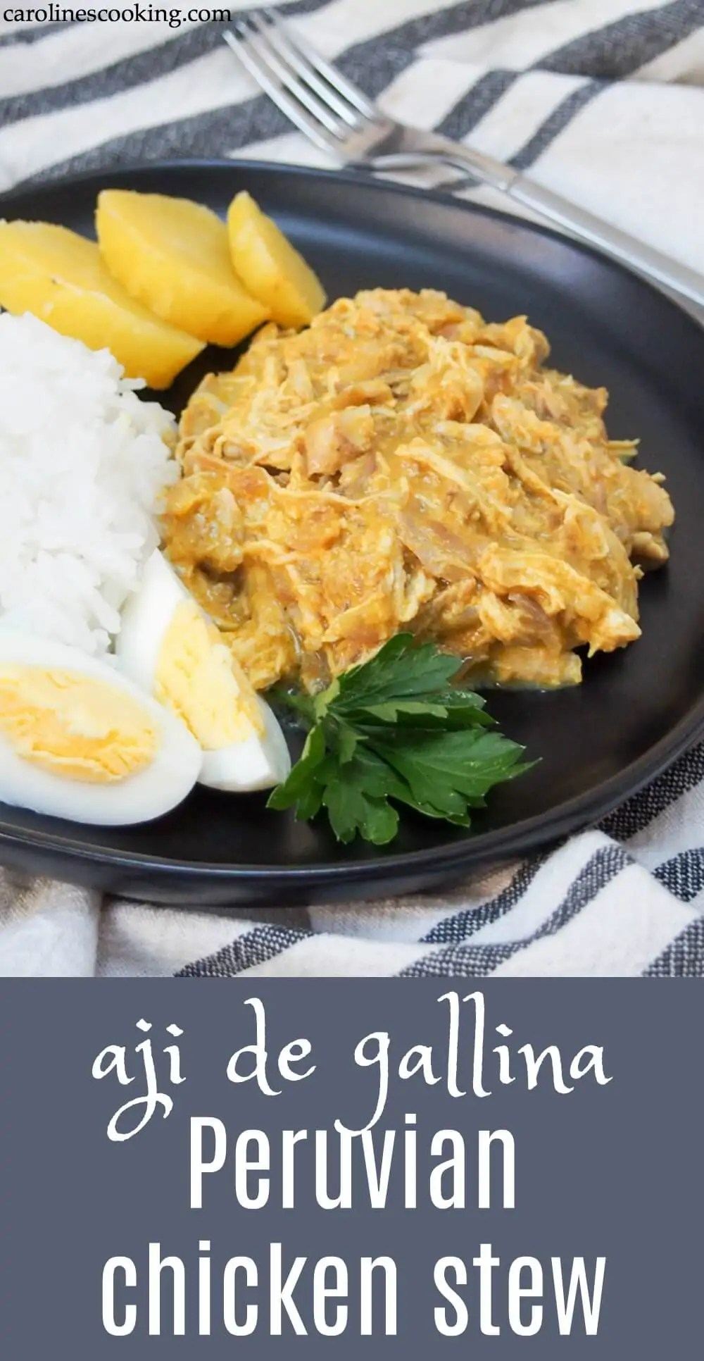 Aji de gallina is a classic Peruvian dish, with shredded chicken wrapped in a smooth, creamy sauce with chili, cheese and walnuts. It's a delicious meal, plus perfect to adapt for leftovers (both chicken and turkey). It's also great to make ahead.#Peruvianrecipe #chicken #leftovers #comfortfood