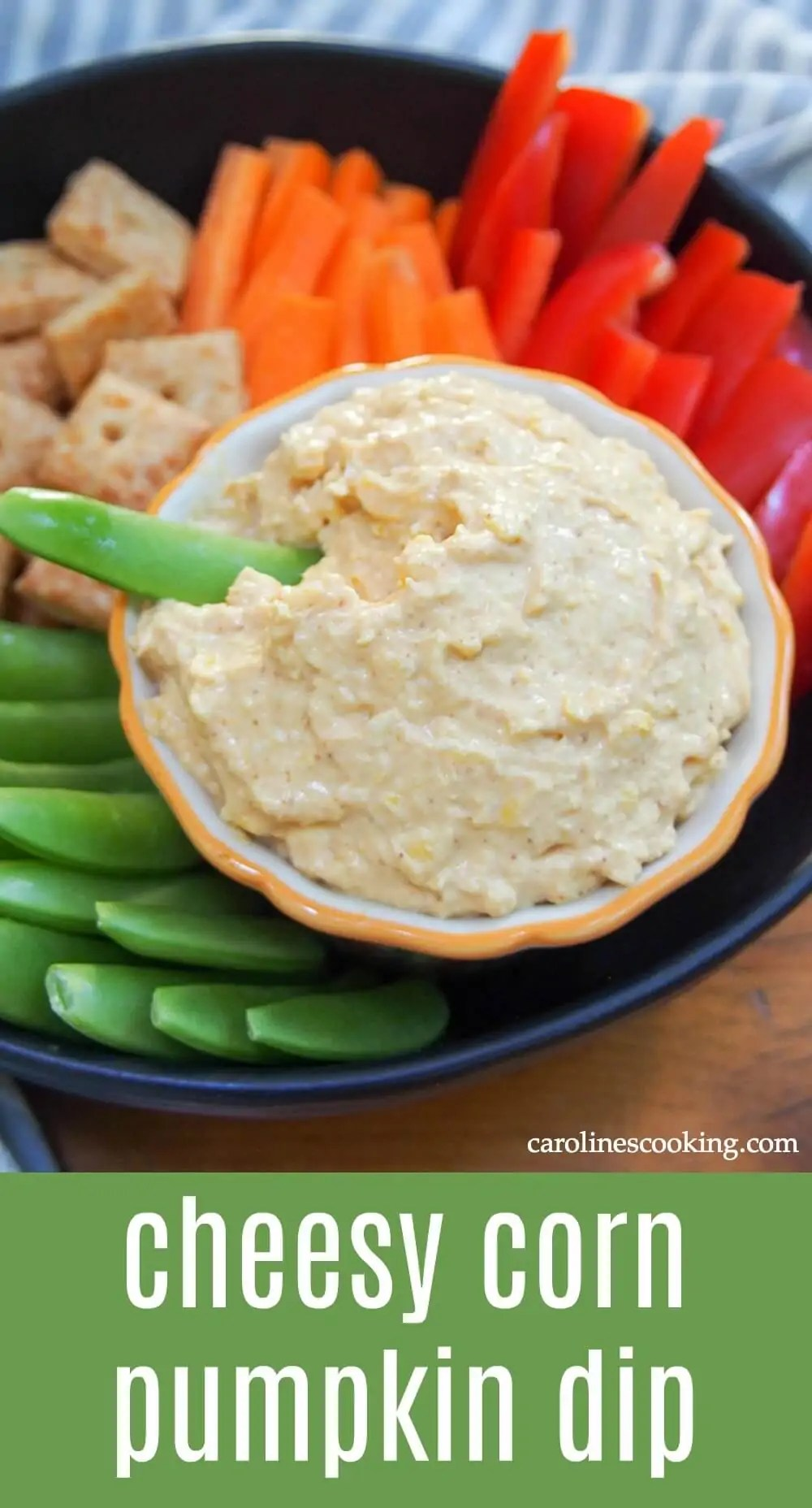 This savory pumpkin dip comes together in mere minutes and is packed with cheesy goodness and a hint of sweetness from corn. Smooth, flavorful and perfect for parties! #spons #pumpkinweek #dip #pumpkin #corndip #appetizer #fingerfood #vegetarian