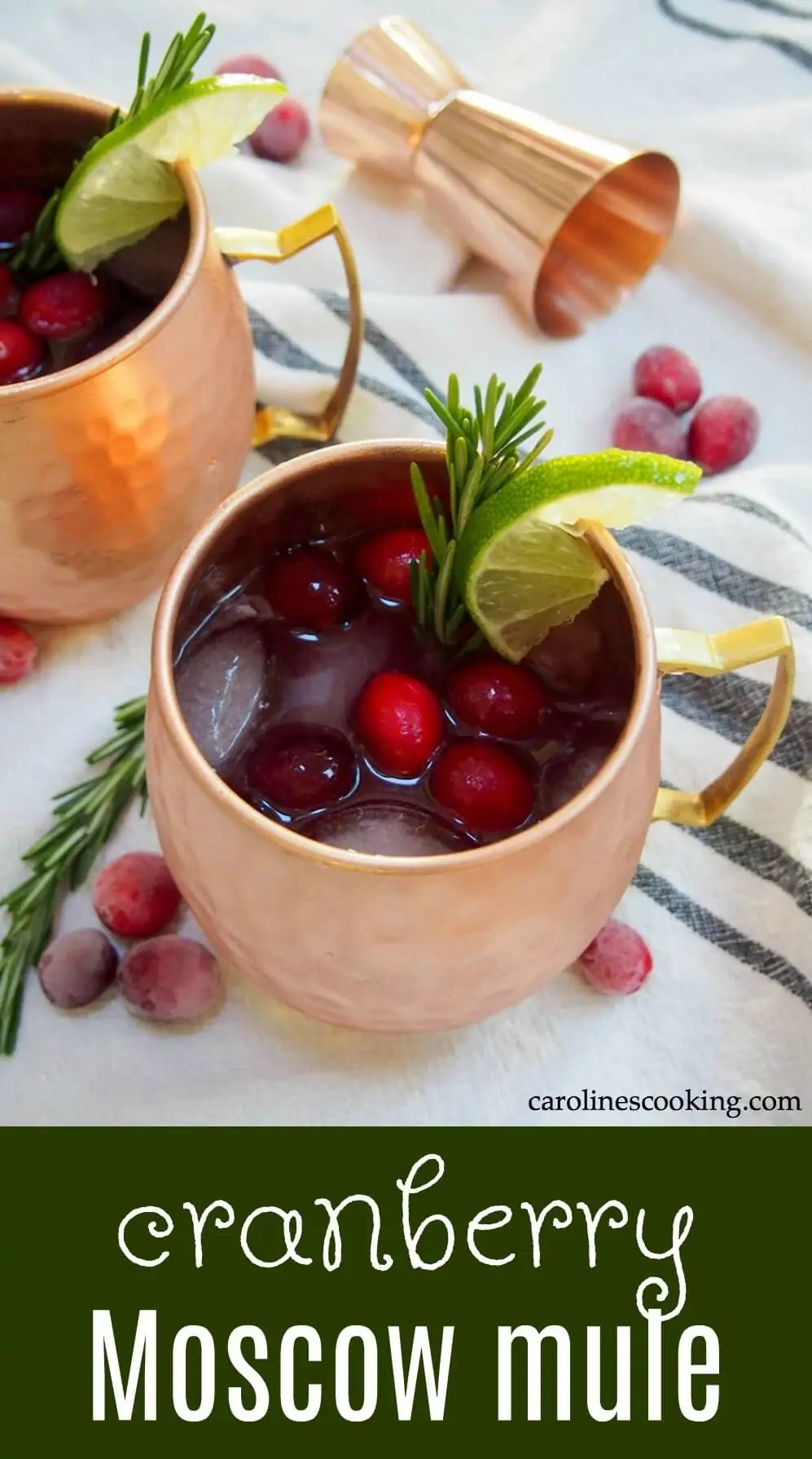 This cranberry Moscow mule is a simple seasonal twist on a classic cocktail, that can also easily be made as a mocktail. Perfect for a festive party! #cranberryweek #cranberry #cocktail #vodka