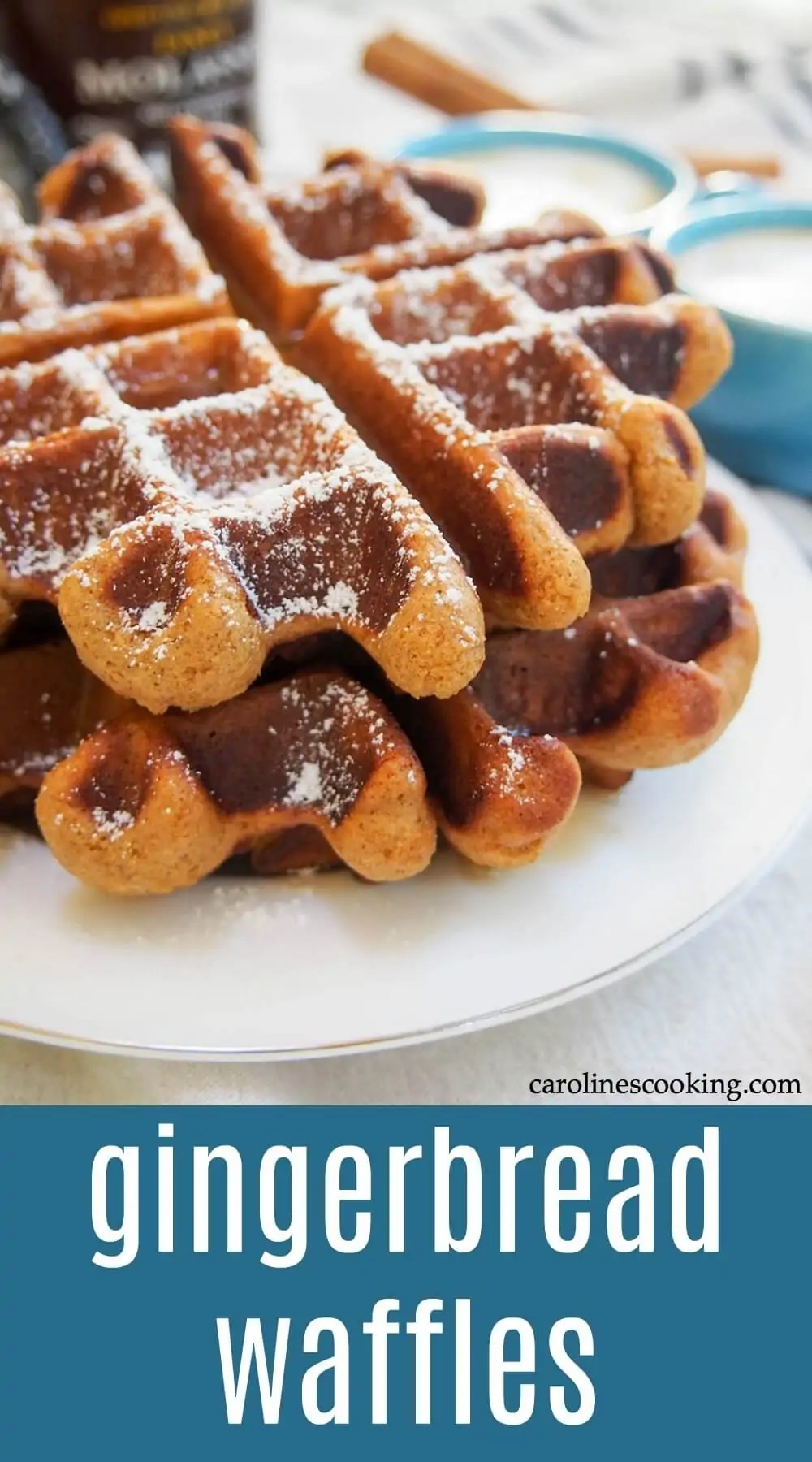 These gingerbread waffles tease you with they wonderfully warm spice smell as they cook and are just as tasty when you, thankfully, get to eat them soon after. An easy and delicious breakfast! These waffles are also great for entertaining and busy mornings as you can make them ahead of time and then store or freeze before re-heating. #gingerbread #waffle #breakfast